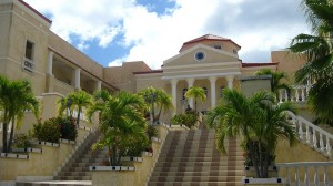American University of the Caribbean, front steps of main building