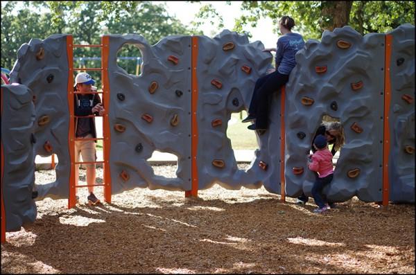The climbing wall at Riverside Park