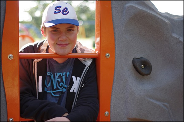 Tanner - The climbing wall at Riverside Park